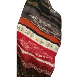 Adrienne Vittadini Silk Scarf Southwest Feather Brown Red Cream Rust Rectangular