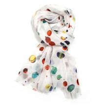 White Colourful Balloons Scarf Ladies Multi Colour Spot Spots Pattern Shawl Wrap