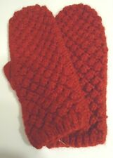 Ladies Women's Fownes Cable Stich Mittens,O/S, Red