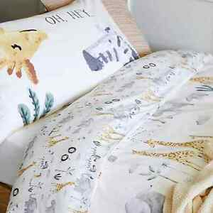 Safari Animals Reversible Toddler Cot Bed Cotton Duvet Cover Bedding Set 120x150