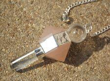 Quartz rose quartz double terminaison gemme cristal pendule curatif radiesthésie