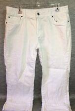 Falls Creek 5 Pocket White Capri Jeans Pants Women's 14 Cotton Blend (h12)