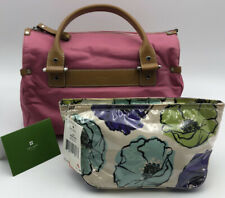 Lot of 3 Kate Spade Bags Pink Satchel Leather Straps Floral Make Up Cases (N418)