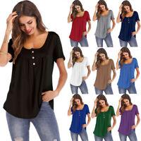 Women Summer Short Sleeve Blouse T Shirt Tops Casual Loose Tunic Plus Size LIU9