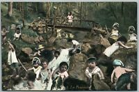 MULTIPLE BABIES IN THE FOREST ANTIQUE POSTCARD