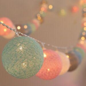 LED Cotton Ball Garland Lights String Christmas Wedding Fairy Lights Decorations