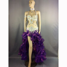 New crystal women belly costume suits performance show bellydancing clothes set