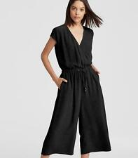 EILEEN FISHER ~ BLACK CROPPED WIDE LEG JUMPSUIT ~ PM ~ POCKETS ~ STRETCH