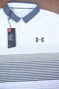 NWT Under Armour Iso-Chill Polo Shirt White Stripe Men's Large L