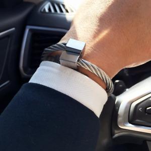 316L Stainless Steel Bangle Luxury Men Bracelet Titanium Adjustable Cuff Jewelry