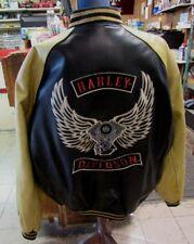 Harley Davidson Jacket XXL Varsity Letterman Leather 2 Tone Yellow/Black LE106