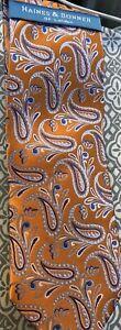 haines & Bonner necktie Orange Blue White Paisley Nwts