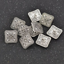 10 Pcs Alloy Square Shank Button Vintage Silver Floral Carved DIY Sewing Craft