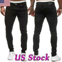Men's Skinny Jeans BLACK Motorcycle Slim Stretch Pants Casual Pants Trousers US