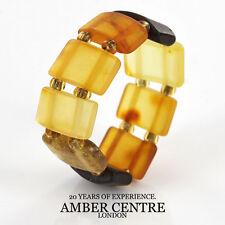 German Baltic Fiery Orange, Cognac Amber Handmade Elastic Ring RB013 RRP£35!!!