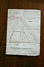 RARE 1834 manuscript land plane geometry red and black nice execution document