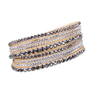 Made with Swarovski Elements Gold Double Wrap Pave Crystal Slake Bracelet