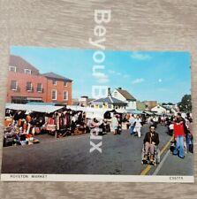 Royston market Cambridge postcard 1970s Fully market place