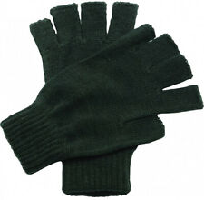 Regatta Thermal Fingerless Gloves Green Knitted Ribbed Cuff Winter Mitts