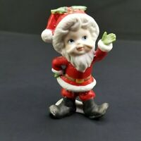 "Vintage Lefton Christmas Mr. Claus Figurine Bisque 3 1/4"" Tall Holiday"