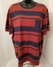 Op Mens Rusty Red Blue Striped T Shirt Size XL 46 48