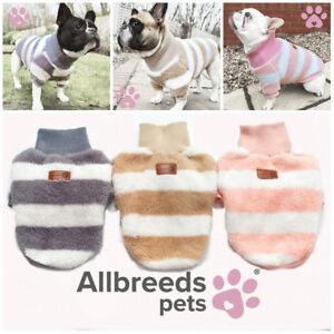 Allbreeds Dog Fleece Jumper Stripe High Neck Coat Puppy French Bulldog Jacket XS