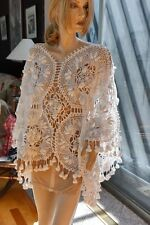 All Hand Made Crochet Long Poncho Vintage White One Size fits All