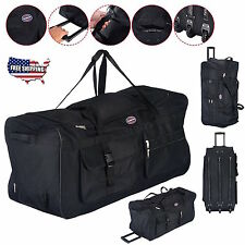"Rolling Duffle Bag Luggage Wheels Tote Durable Large 36"" Sports Travel Suitcase"