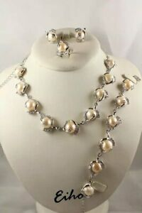 """Classic South sea white Weird Baroque Pearl perfect earring set 18""""7.6"""" pink"""