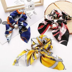 Women Printed Pattern Bow Streamer Scrunchies With Pearl Ponytail Hair Ties