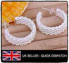 925 Sterling Silver Mesh Rope Half Hoop Earrings. Butterfly, Stud, UK, Gift Bag