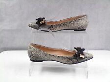 TOPSHOP Womens Grey Faux Leather Tie Bow Ballet PUMPS Flat Casual Shoe Size 5