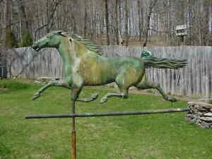 ANTIQUE RUNNING HORSE WEATHERVANE GREAT ORIG. FINISH