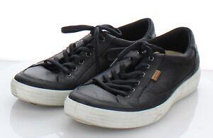 Z10 $150 Men's Sz 47 M Ecco Soft 7 Tie Nubuck Leather Lace Up Sneaker In Black