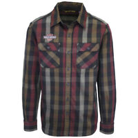 Harley-Davidson Men's Maroon Brown Black L/S Woven Shirt (201)