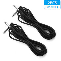 2-PACK 10FT Electric Patch Cord Guitar Amplifier Amp Cable Right Angle 90 Degree