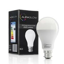 AURAGLOW 15w LED B22 Bayonet Light Bulb, Cool White, 1521 Lumens - 100w EQV