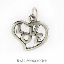 925 Sterling Silver Heart with Love Graphic Charm Made in USA