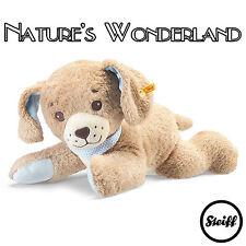 STEIFF Original Good Night DOG - Beige, 48cm, Blue Scarf, cuddly plush BABYWORLD