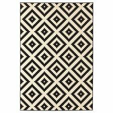LAPPLJUNG RUTA Rug Black and White Low Pile 100%Pp Floor Rugs Carpets-160x230cm