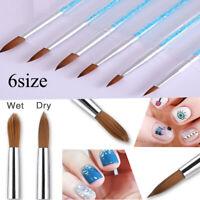 6Pcs DIY Acrylic Nail Art Pen Tips UV Builder Gel Painting Brush Manicure Set*-