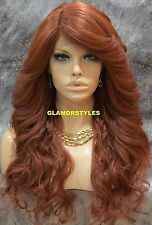 Long Loose Wavy Bangs Auburn Lace Front Full Wig Heat Ok Hair Piece #350 NWT