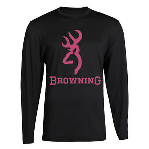 Camo Browning Design Black T-shirt Long Sleeve Front S - 2XL