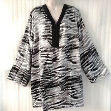 Woman Plus size Black White Blouse 26/28/4X/4XL Tunic Beaded Boho Top New 3/4Slv