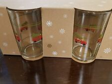 POTTERY  BARN CHRISTMAS TREE CAR JUICE GLASS WOODY 4 glasses