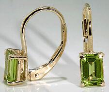 Drop Earrings 14k Yellow Gold Emerald Cut Peridot