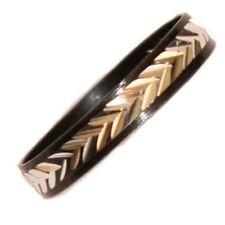 Black Silver Metal Thumb Midi Ring Herringbone Pattern One Size