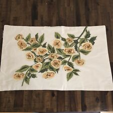 Pottery Barn Pillow Cover Embroidered Floral Farmhouse 16 x 26 Cotton Beige