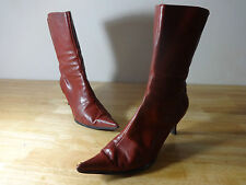 "Womens boots size 6.5 red Nine West leather mid calf 2.5"" ladies size 6.5 heels"