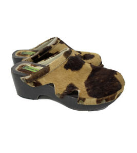 🔥Penny Loves Kenny Clogs Cow Print Hair Wooden Platform Brown Clog Size 5🔥